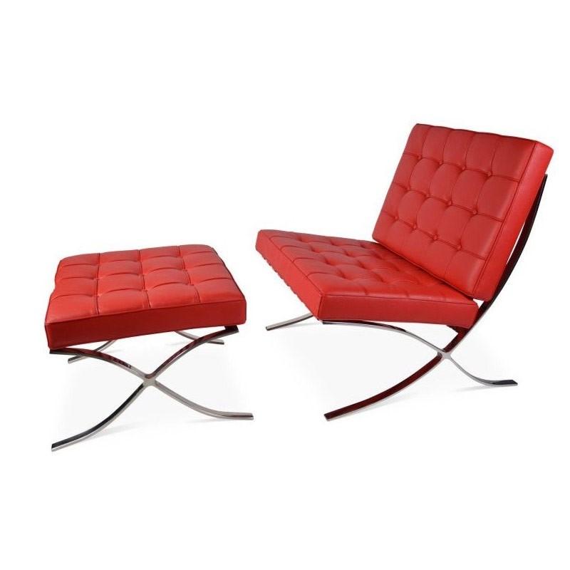 red barcelona lounge fauteuil plus hocker sale. Black Bedroom Furniture Sets. Home Design Ideas